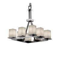 Justice Design Fusion Montana 8-Light Ring Chandelier in Brushed Nickel FSN-8666-15-WEVE-NCKL