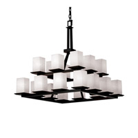 Justice Design Fusion Montana 20-Light 2-Tier Ring Chandelier in Matte Black FSN-8667-15-WEVE-MBLK