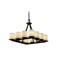 Justice Design Fusion Montana 12-Light Ring Chandelier (Short) in Matte Black FSN-8668-15-RBON-MBLK