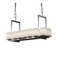 Justice Design Fusion Montana 14-Light Bridge Chandelier (Short) in Brushed Nickel FSN-8669-15-RBON-NCKL
