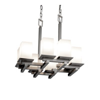 Justice Design Fusion Montana 8-Light Zig-Zag Chandelier in Brushed Nickel FSN-8670-15-OPAL-NCKL
