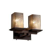 Fusion 2 Light 13 inch Dark Bronze Bath Bar Wall Light in Mercury Glass