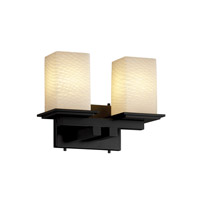 Justice Design FSN-8672-15-WEVE-MBLK Fusion 2 Light 13 inch Matte Black Bath Bar Wall Light in Weave photo thumbnail