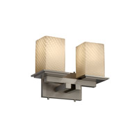 Justice Design FSN-8672-15-WEVE-NCKL Fusion 2 Light 13 inch Brushed Nickel Bath Bar Wall Light in Weave, Incandescent