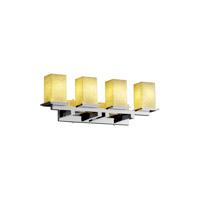 Justice Design FSN-8674-15-FRCR-MBLK Fusion 4 Light 29 inch Matte Black Bath Bar Wall Light in Incandescent, Frosted Crackle