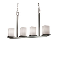 Justice Design Fusion Montana 4-Light Bar Chandelier in Brushed Nickel FSN-8678-15-RBON-NCKL