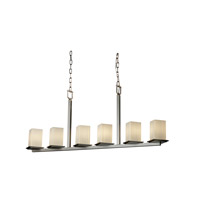 Justice Design Fusion Montana 6-Light Bar Chandelier in Brushed Nickel FSN-8679-15-RBON-NCKL