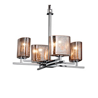 Justice Design FSN-8700-30-MROR-CROM Fusion 4 Light Polished Chrome Chandelier Ceiling Light in Mercury Glass, Oval, Incandescent
