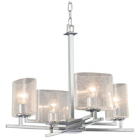 Fusion 4 Light 23 inch Polished Chrome Chandelier Ceiling Light in Oval, Incandescent, Seeded