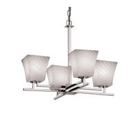Justice Design Fusion Aero 4-Light Chandelier in Polished Chrome FSN-8700-40-WEVE-CROM