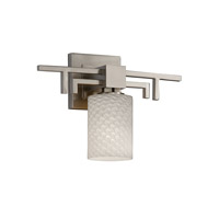 Justice Design FSN-8701-10-WEVE-NCKL Fusion 1 Light 14 inch Brushed Nickel Wall Sconce Wall Light in Weave, Cylinder with Flat Rim photo thumbnail