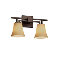 Aero 2 Light 16 inch Dark Bronze Vanity Light Wall Light in Round Flared, Almond, Incandescent