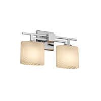 Justice Design FSN-8702-30-WEVE-CROM Fusion 2 Light 17 inch Polished Chrome Bath Bar Wall Light in Fluorescent, Weave, Oval photo thumbnail