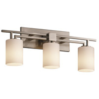 Justice Design Fusion Aero 3-Light Bath Bar in Brushed Nickel FSN-8703-10-OPAL-NCKL