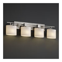 Fusion 4 Light 37 inch Brushed Nickel Bath Bar Wall Light in Opal, Oval, Incandescent