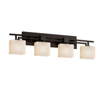 Fusion LED 36 inch Dark Bronze Vanity Light Wall Light in Rectangle, Opal, 2800 Lm 4 Light LED