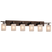 Justice Design FSN-8706-15-FRCR-DBRZ Fusion 6 Light 56 inch Dark Bronze Bath Bar Wall Light in Square with Flat Rim Incandescent Frosted Crackle