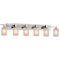Justice Design FSN-8706-15-FRCR-NCKL Fusion 6 Light 56 inch Brushed Nickel Bath Bar Wall Light in Square with Flat Rim Incandescent Frosted Crackle