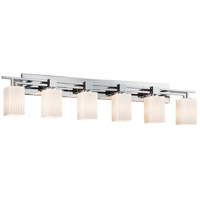 Fusion 6 Light 56 inch Polished Chrome Bath Bar Wall Light in Square with Flat Rim, Ribbon, Incandescent