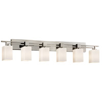 Fusion 6 Light 56 inch Brushed Nickel Bath Bar Wall Light in Ribbon, Square with Flat Rim, Incandescent