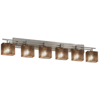 Fusion 6 Light 57 inch Brushed Nickel Vanity Light Wall Light in Fluorescent, Mercury Glass, Rectangle