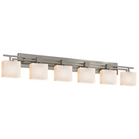 Fusion 6 Light 57 inch Brushed Nickel Vanity Light Wall Light in Fluorescent, Opal, Rectangle