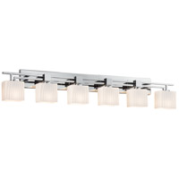 Justice Design FSN-8706-55-RBON-CROM Fusion 6 Light 57 inch Polished Chrome Vanity Light Wall Light in 9.25, Ribbon, Incandescent, 56.5, Rectangle thumb