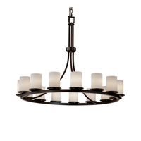 Justice Design Fusion Dakota 15-Light 1-Tier Ring Chandelier in Dark Bronze FSN-8715-10-OPAL-DBRZ