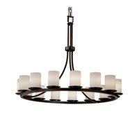 Justice Design FSN-8715-10-SEED-MBLK Fusion 15 Light 42 inch Matte Black Chandelier Ceiling Light in Incandescent, Seeded