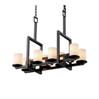 Justice Design Fusion Dakota 8-Up & 3-Downlight Bridge Chandelier in Matte Black FSN-8718-10-OPAL-MBLK
