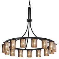 Justice Design FSN-8735-10-ALMD-DBRZ Fusion 15 Light 42 inch Dark Bronze Chandelier Ceiling Light in Almond, Incandescent