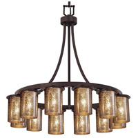 Justice Design FSN-8739-10-MROR-DBRZ-LED12-8400 Fusion LED 28 inch Dark Bronze Chandelier Ceiling Light in Mercury Glass 8400 Lm LED