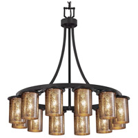 Justice Design FSN-8739-10-MROR-MBLK-LED12-8400 Fusion LED 28 inch Matte Black Chandelier Ceiling Light in Mercury Glass 8400 Lm LED