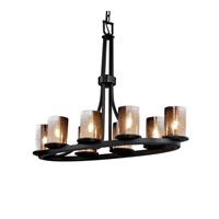 Justice Design FSN-8751-10-MROR-MBLK Fusion 8 Light 16 inch Matte Black Chandelier Ceiling Light in Mercury Glass photo thumbnail
