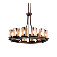Justice Design FSN-8763-10-MROR-DBRZ Fusion 12 Light Dark Bronze Chandelier Ceiling Light in Mercury Glass, Incandescent