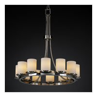 Justice Design Fusion Dakota 12-Light Ring Chandelier (Tall) in Brushed Nickel FSN-8763-10-OPAL-NCKL