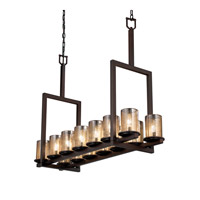 Justice Design Fusion Dakota 14-Light Bridge Chandelier (Tall) in Dark Bronze FSN-8764-10-MROR-DBRZ