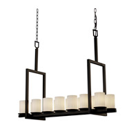 Justice Design Fusion Dakota 14-Light Bridge Chandelier (Tall) in Dark Bronze FSN-8764-10-RBON-DBRZ