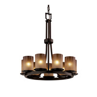 Justice Design Dakota 9 Light Chandelier in Dark Bronze FSN-8766-10-CRML-DBRZ