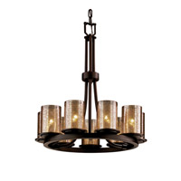 Justice Design Fusion Dakota 9-Light Ring Chandelier in Dark Bronze FSN-8766-10-MROR-DBRZ