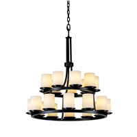 Justice Design Fusion Dakota 21-Light 2-Tier Ring Chandelier in Matte Black FSN-8767-10-OPAL-MBLK