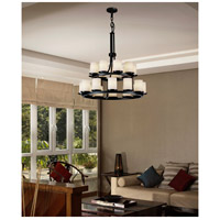 Justice Design Fusion Dakota 21-Light 2-Tier Ring Chandelier in Matte Black FSN-8767-10-OPAL-MBLK alternative photo thumbnail