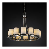 Justice Design Fusion Dakota 12-Light Ring Chandelier (Short) in Brushed Nickel FSN-8768-10-OPAL-NCKL
