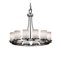 Fusion 12 Light Brushed Nickel Chandelier Ceiling Light in Weave