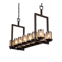 Justice Design Fusion Dakota 14-Light Bridge Chandelier (Short) in Dark Bronze FSN-8769-10-MROR-DBRZ