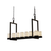 Justice Design Fusion Dakota 14-Light Bridge Chandelier (Short) in Dark Bronze FSN-8769-10-RBON-DBRZ
