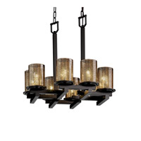Justice Design Fusion Dakota 8-Light Zig-Zag Chandelier in Matte Black FSN-8770-10-MROR-MBLK