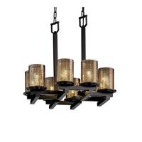 Justice Design Fusion Dakota 8-Light Zig-Zag Chandelier in Matte Black FSN-8770-10-MROR-MBLK