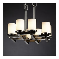 Justice Design Fusion Dakota 8-Light Zig-Zag Chandelier in Brushed Nickel FSN-8770-10-OPAL-NCKL