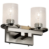 Justice Design FSN-8772-10-SEED-NCKL Fusion 2 Light 13 inch Brushed Nickel Bath Bar Wall Light in Incandescent, Seeded